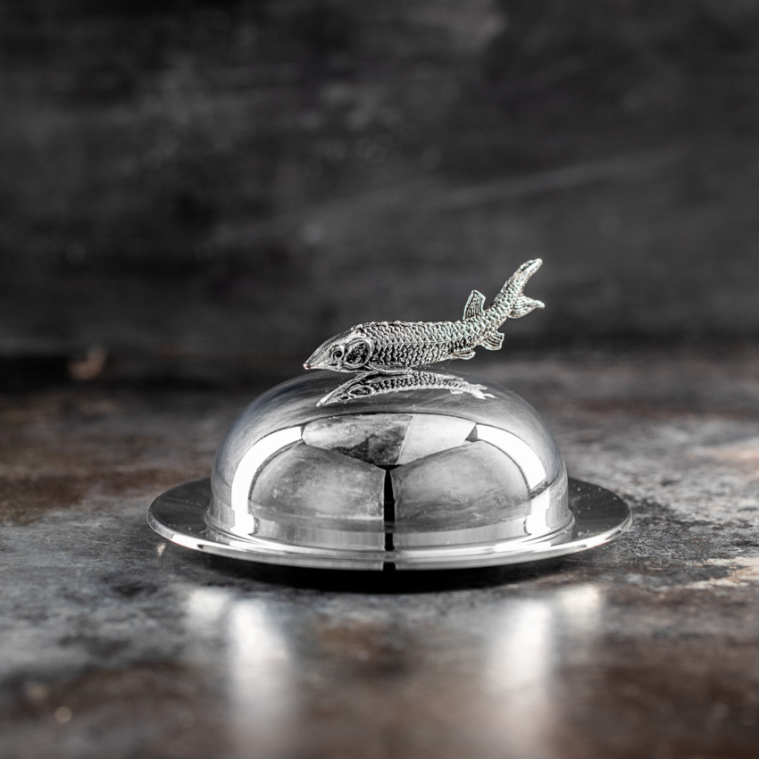 Caviar server i stål med stør greb